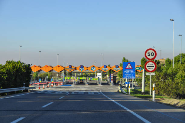 Toll Road Check Point in Spain stock photo