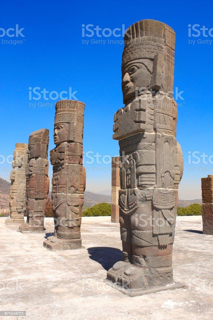 Toltec Atlantes, Tula de Allende, Hidalgo state, Mexico stock photo