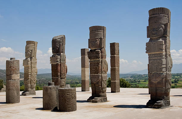 toltec temple ruins in tula, mexico - empire stock pictures, royalty-free photos & images