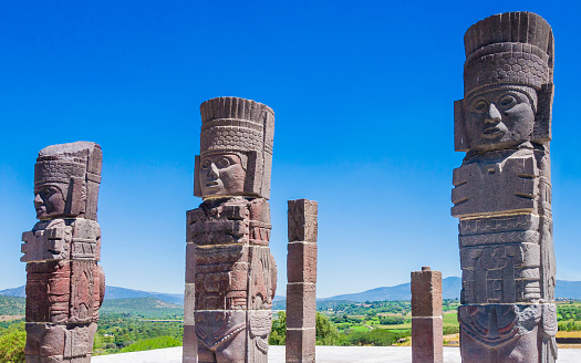 Toltec warrior statues on Quetzalcoatl pyramid, Tula archaeological site, Mexico