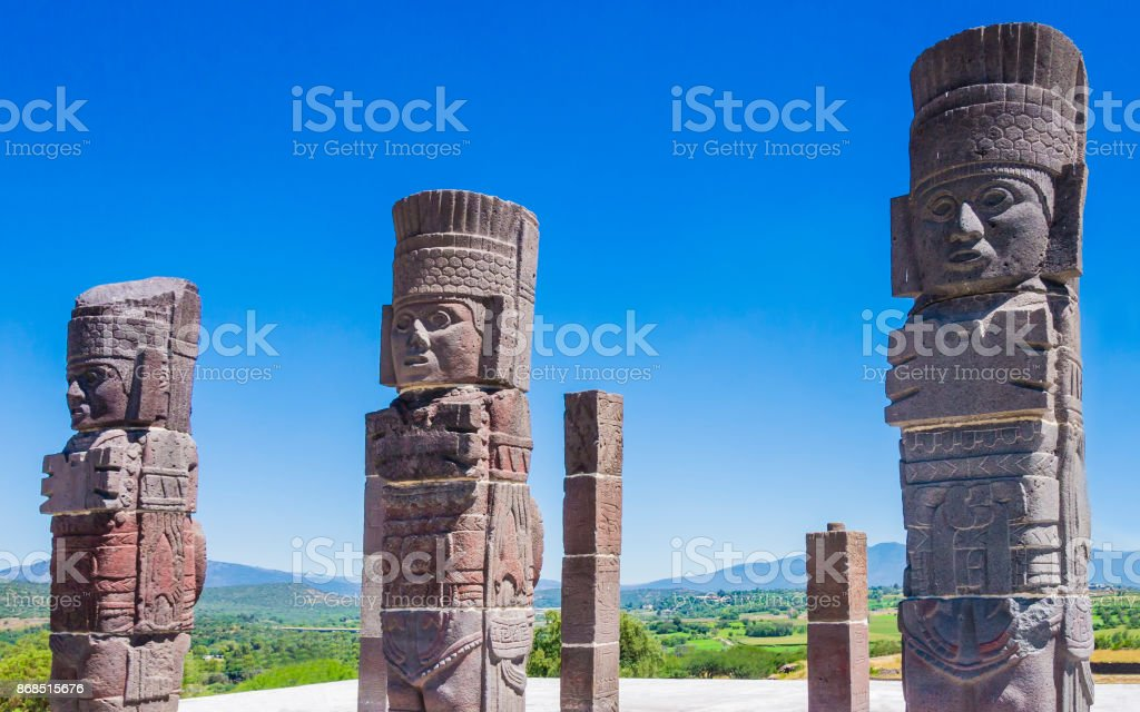 Toltec warrior statues on Quetzalcoatl pyramid, Tula archaeological site, Mexico stock photo