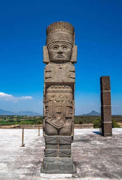 Toltec Warriors or Atlantes columns at Pyramid of Quetzalcoatl in Tula, Mexico stock photo
