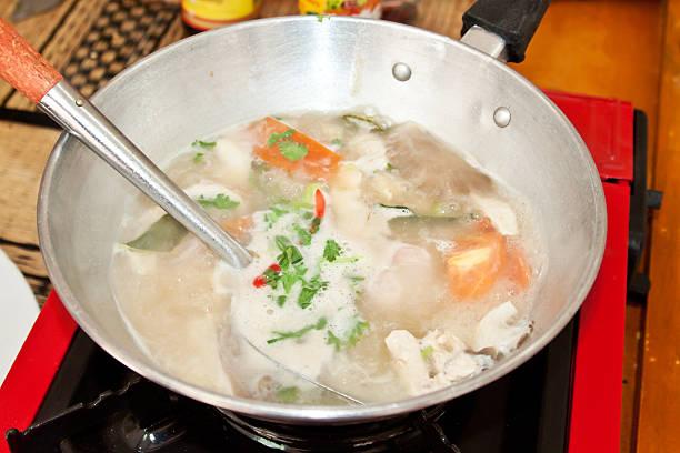 Tom Kha 街のスープ料理 ストックフォト