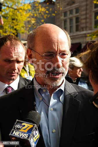 Lancaster, PA, USA - November 3, 2014: Tom Wolf makes a campaign stop and speaks with supporters the day before he was elected governor of Pennsylvania.