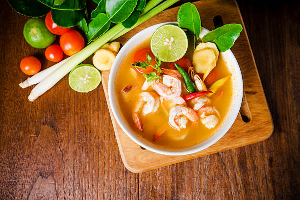 Tom yam kong or Tom yum soup. Thai food. - Photo