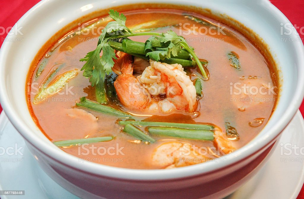 Tom Yam Kung, spicy thai soup style stock photo