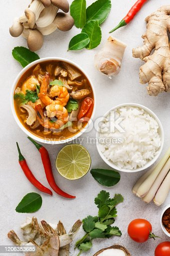 Tom Yum Goong or Tom Yam Kung and set of ingredients for cooking. Traditional Thai spicy shrimp soup with coconut milk. Top view.