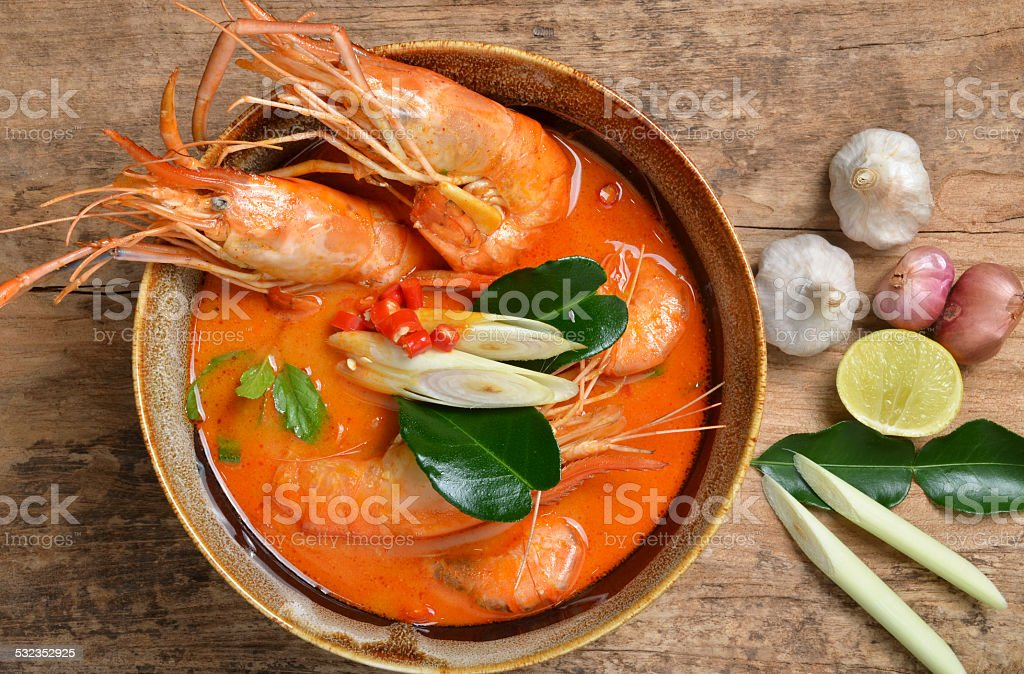 Tom Yum Kung and condiments (Thai cuisine). stock photo