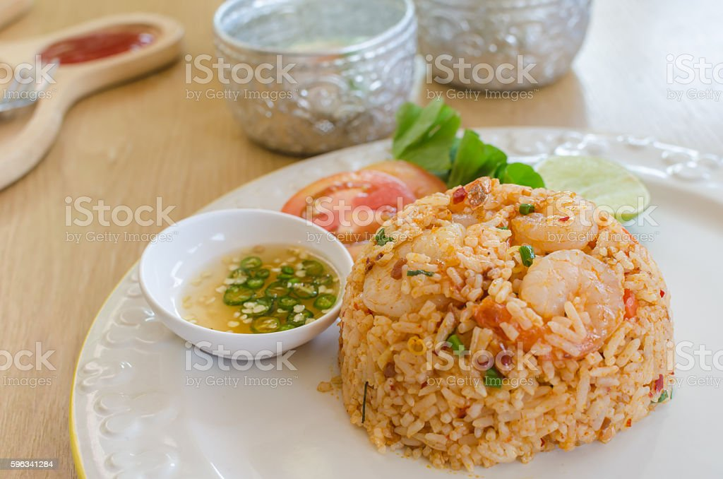 tom yum kung fried rice Lizenzfreies stock-foto