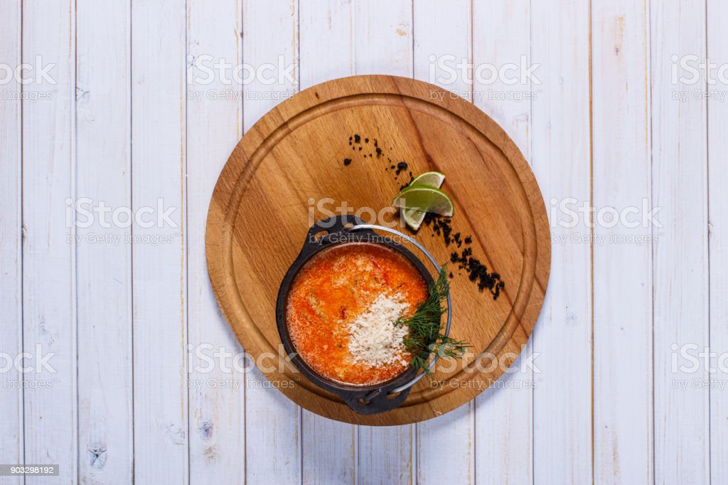 Tom yum soup table setting stock photo
