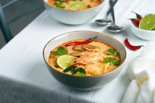tom yum soup traditional thai soup with prawns shrimps squid