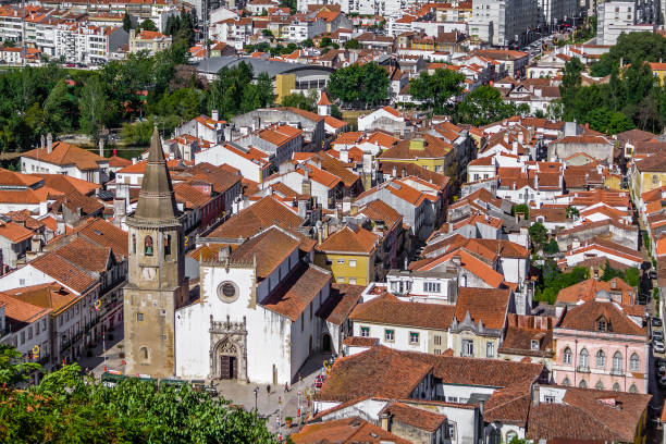 tomar, portugal. the city of tomar with igreja de sao joao baptista church and republica square. - knights templar stock pictures, royalty-free photos & images