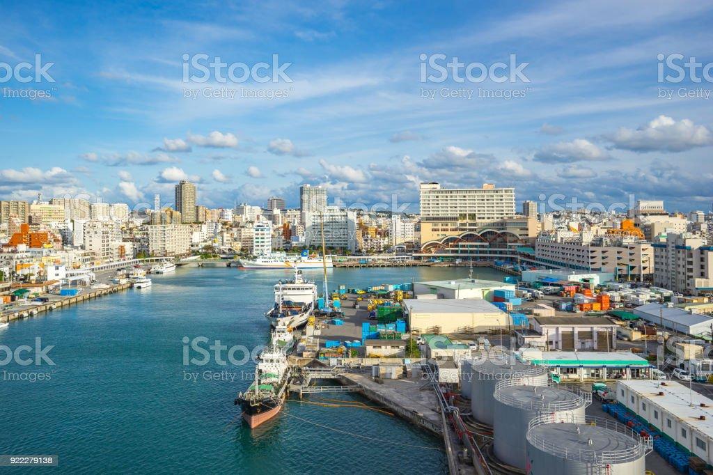Tomari Port with Okinawa city skyline in Naha, Okinawa, Japan Tomari Port with Okinawa city skyline in Naha, Okinawa, Japan. City Stock Photo