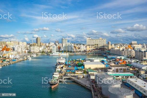 Tomari Port With Okinawa City Skyline In Naha Okinawa Japan Stock Photo - Download Image Now
