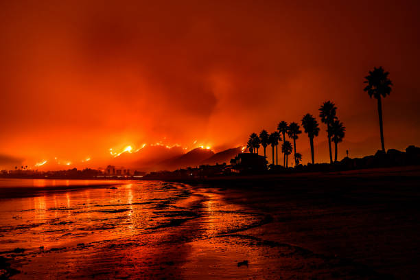 Tomas Fire Santa Barbara, California. Photo of the Tomas Fire taken from a Santa Barbara beach. santa barbara california stock pictures, royalty-free photos & images