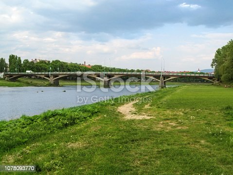 istock Tomas Masaryk Bridge (Great Bridge) across the Uzh River in Uzhhorod (Ukraine) 1078093770