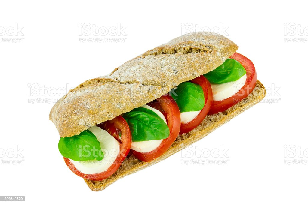 Tomaten Mozzarella Baguette stock photo