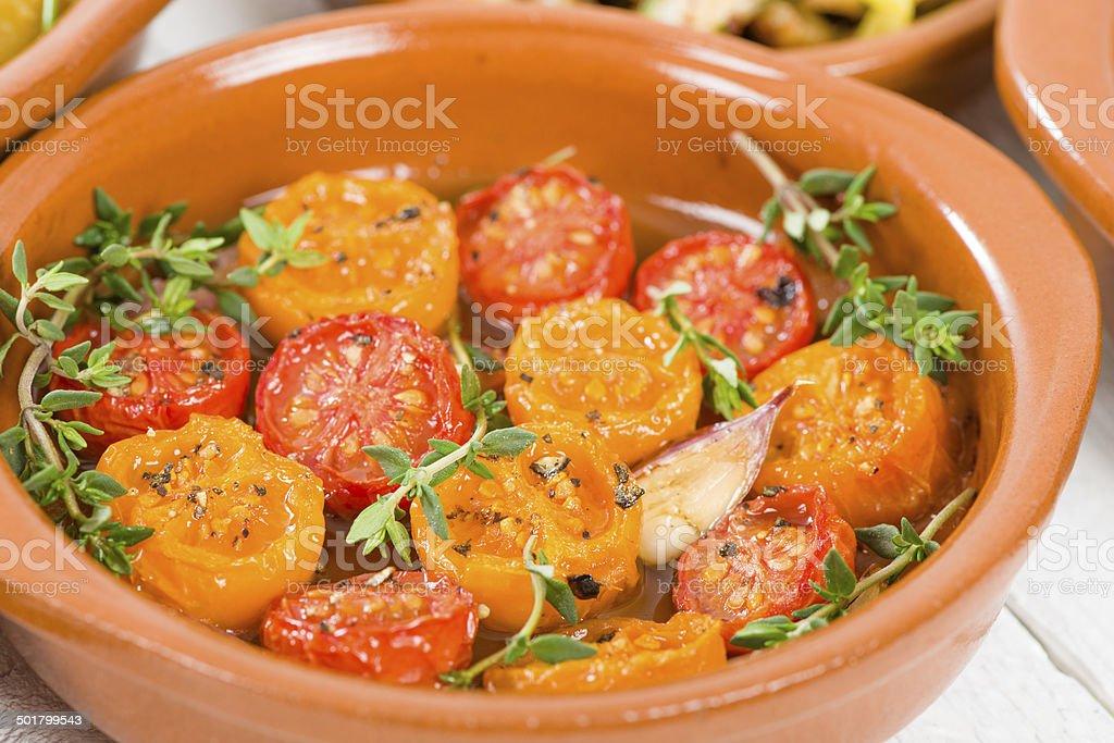 Tomates al Ajillo stock photo