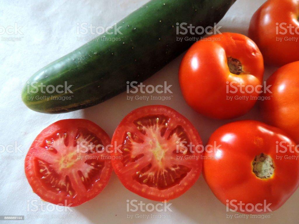 Tomates e pepino stock photo