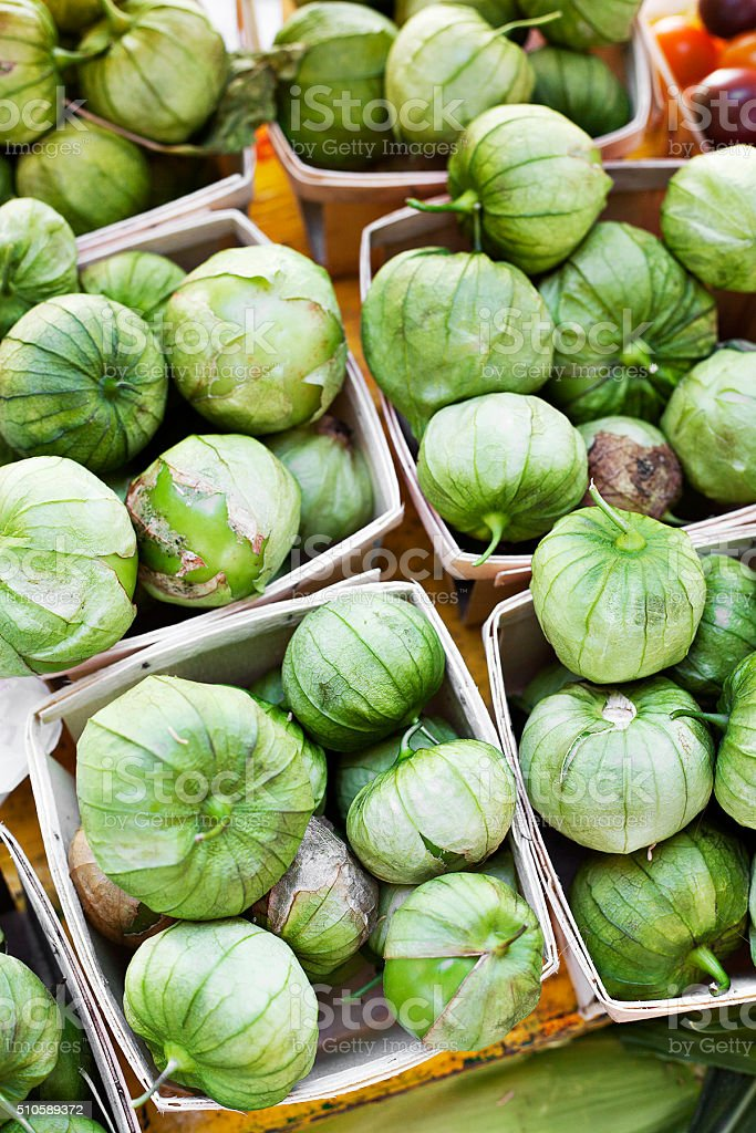 tomatillos at the market stock photo