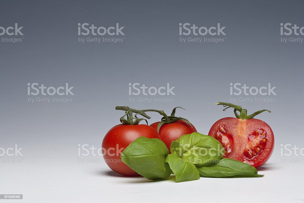 Tomato and Basil herb royalty-free stock photo