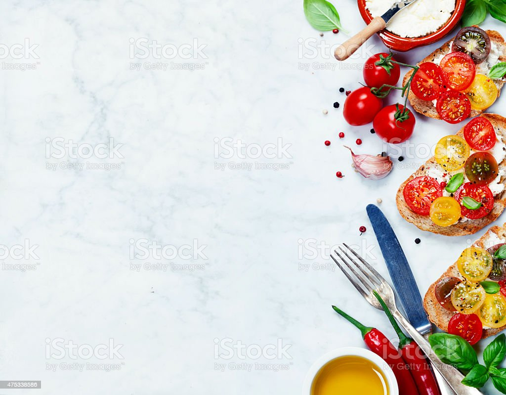 Tomato and basil sandwiches stock photo
