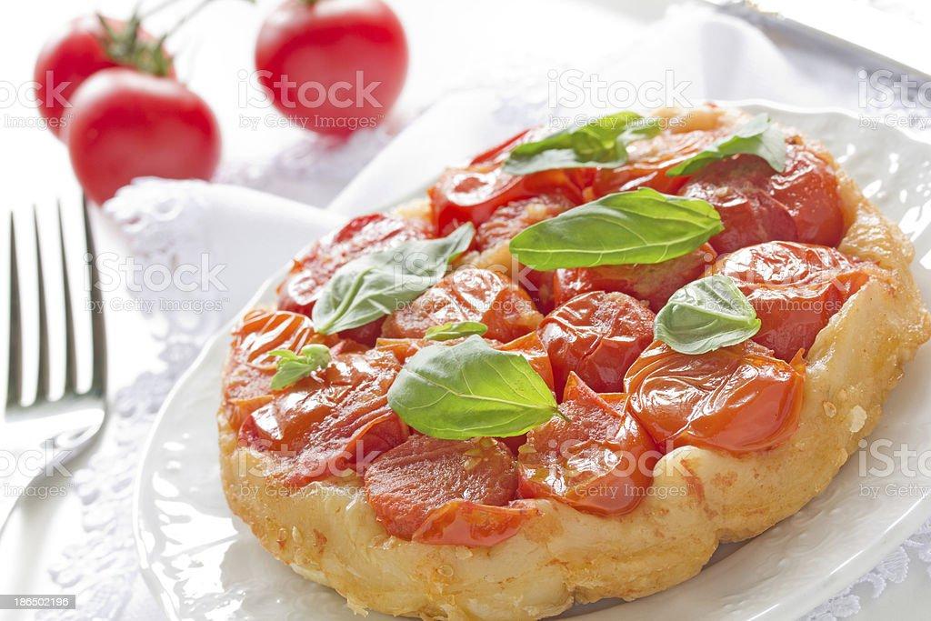 tomato and basil tart royalty-free stock photo
