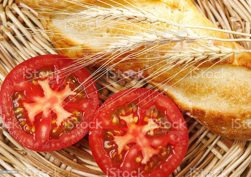 Tomato and bread royalty-free stock photo