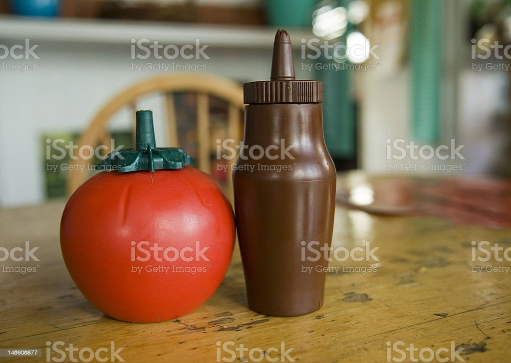 Tomato and brown sauce stock photo