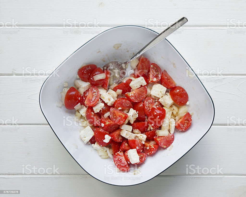 tomato and feta salad stock photo