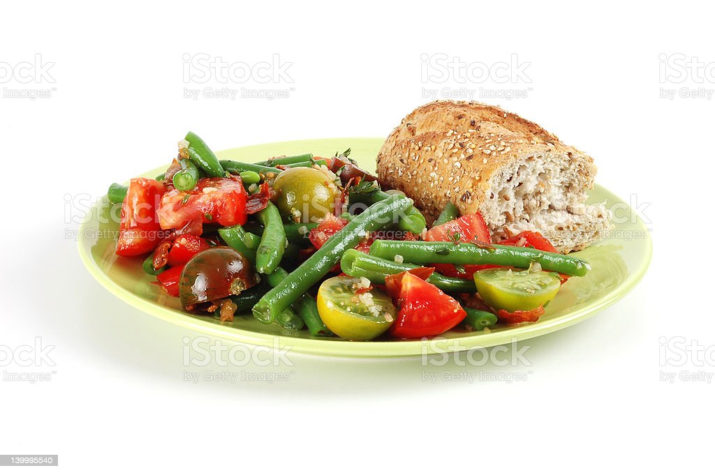 Tomato and green bean salad royalty-free stock photo