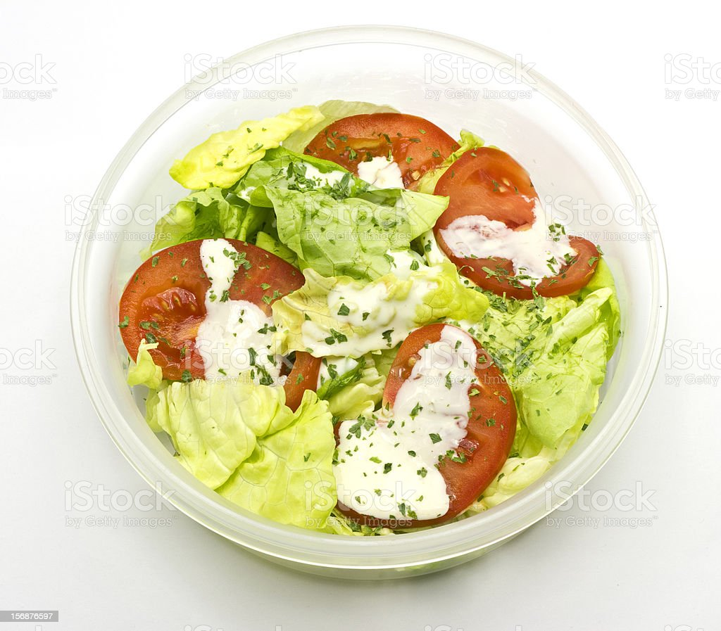 tomato and lettuce in plastic box stock photo