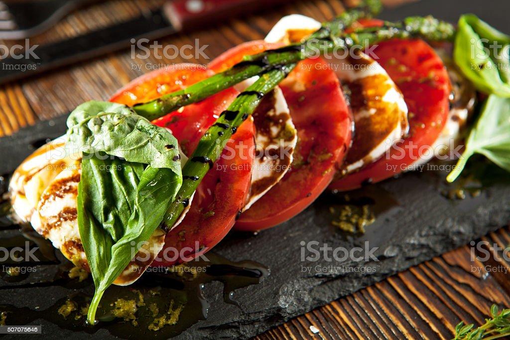 Tomato and Mozzarella Caprese stock photo