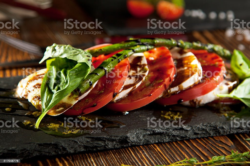 Tomato and Mozzarella Caprese stock photo