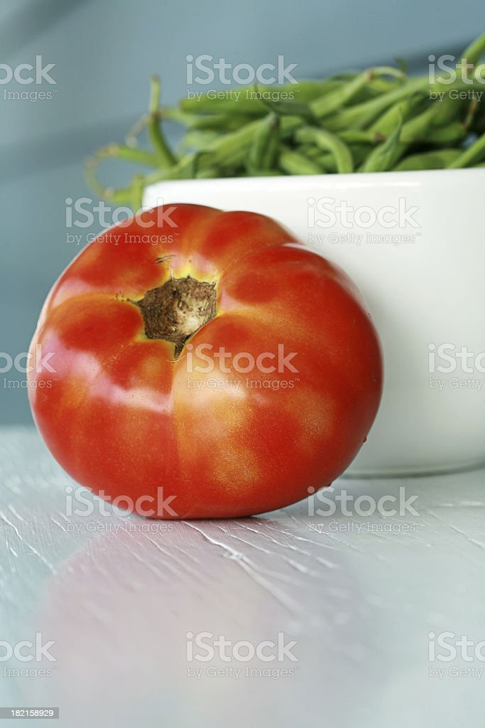 Tomato and String Beans royalty-free stock photo