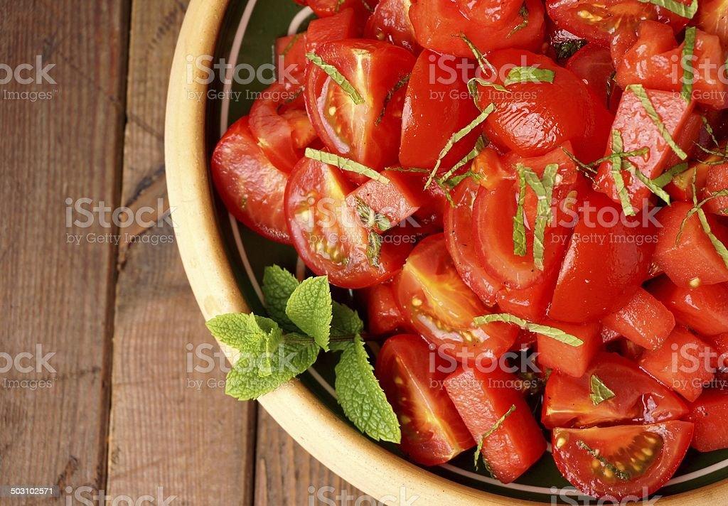 Tomato and watermelon salad stock photo