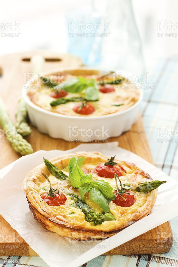 tomato asparagus quiche royalty-free stock photo