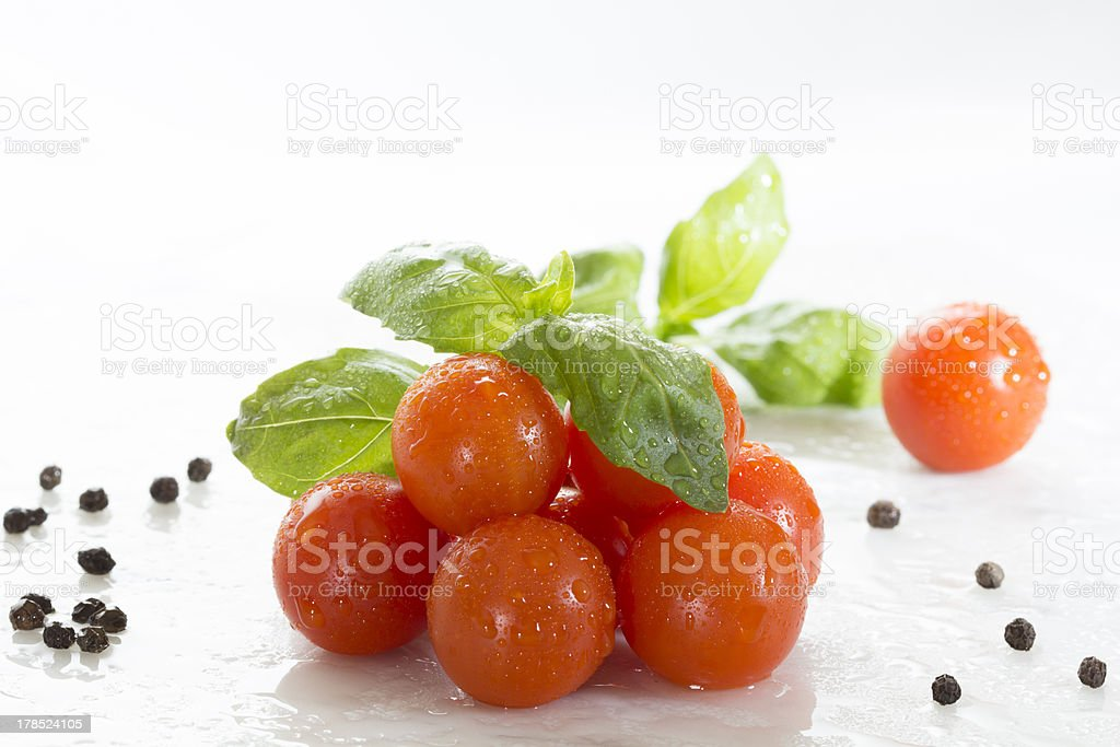 Tomato- basil and black pepper royalty-free stock photo