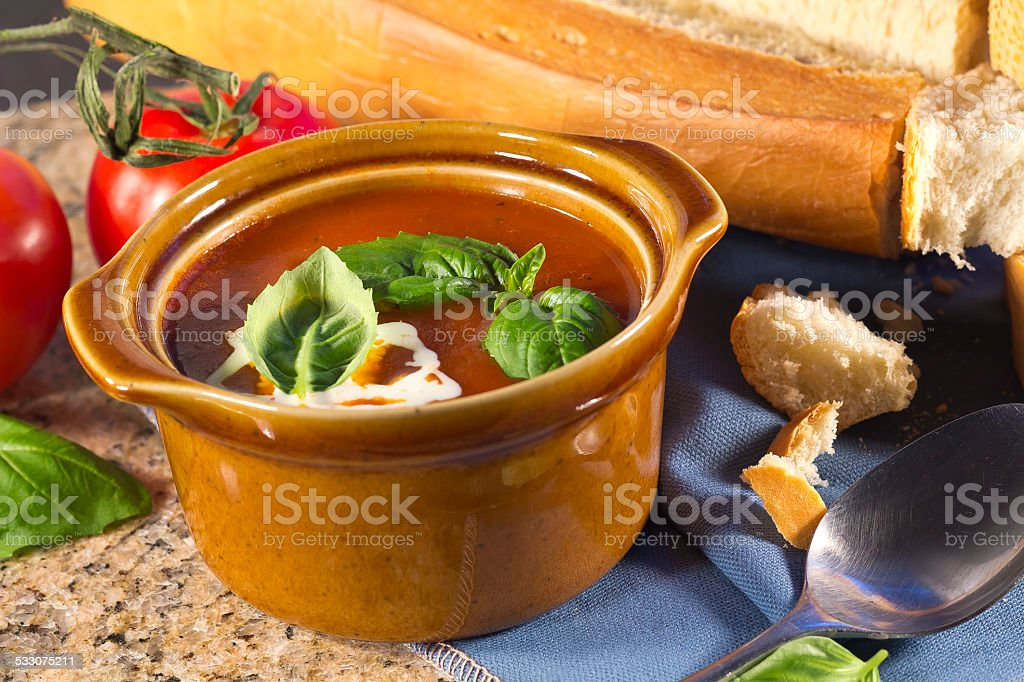 Tomato Basil Soup Stock Photo & More Pictures of 2015 - iStock