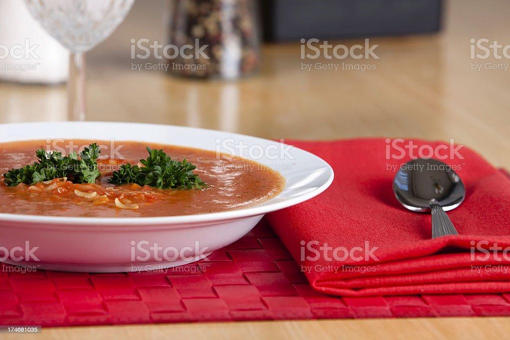 Tomato Basil with Orzo Soup royalty-free stock photo