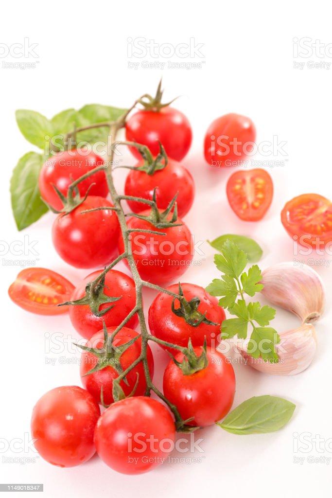 tomato bunch and basil and garlic