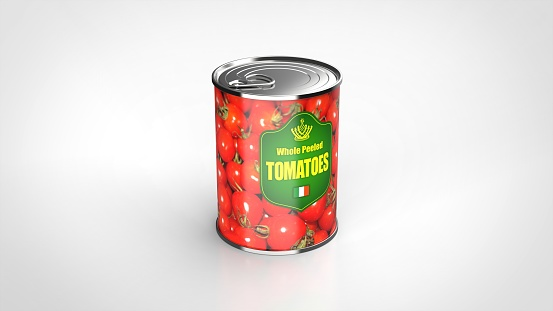 tomato can white background one center angled 3d rendering