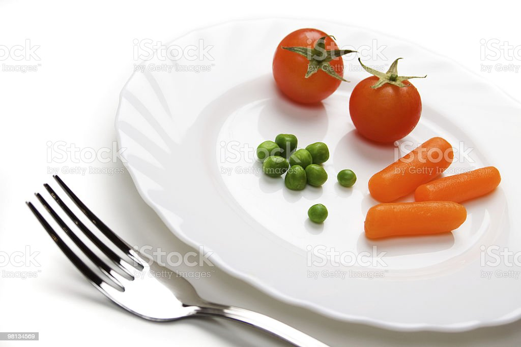 Tomato carrot and green peas royalty-free stock photo