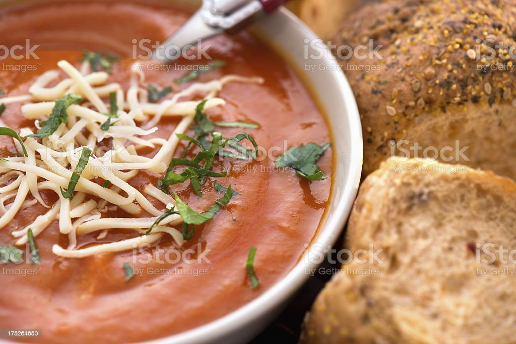 Tomato creme soup stock photo