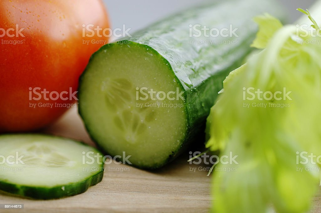 Tomato, cucumber, celery, salad ingredients close up royalty-free stock photo