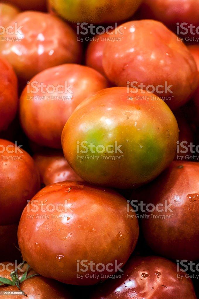 Tomato display at the farmers Market stock photo