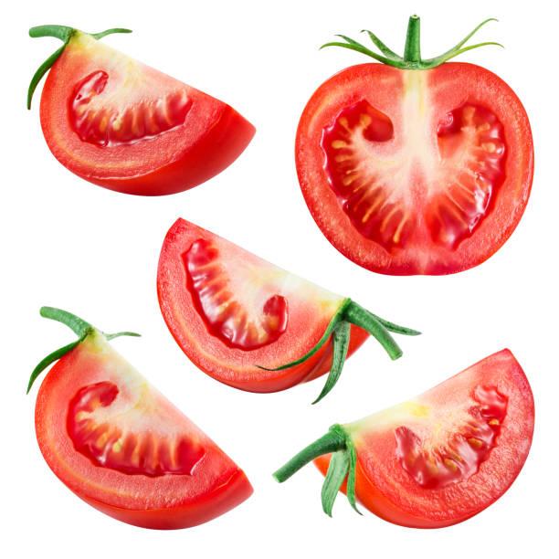 tomaten. frisches gemüse, isoliert auf weiss. im großen und ganzen halb, in scheiben schneiden, stück, quartal, abschnitt, segment. kollektion. - 25 cent stück stock-fotos und bilder
