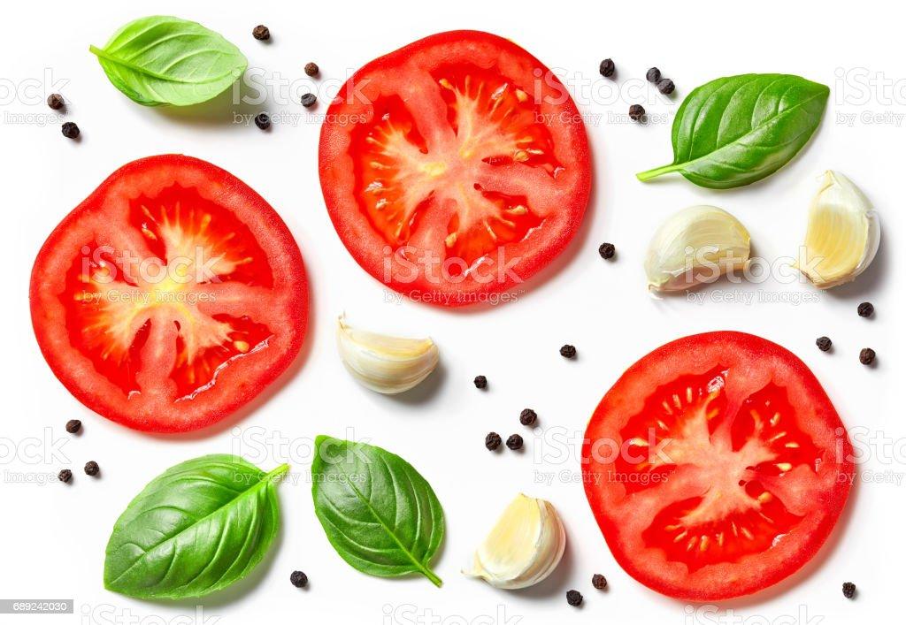 tomato, garlic and basil stock photo