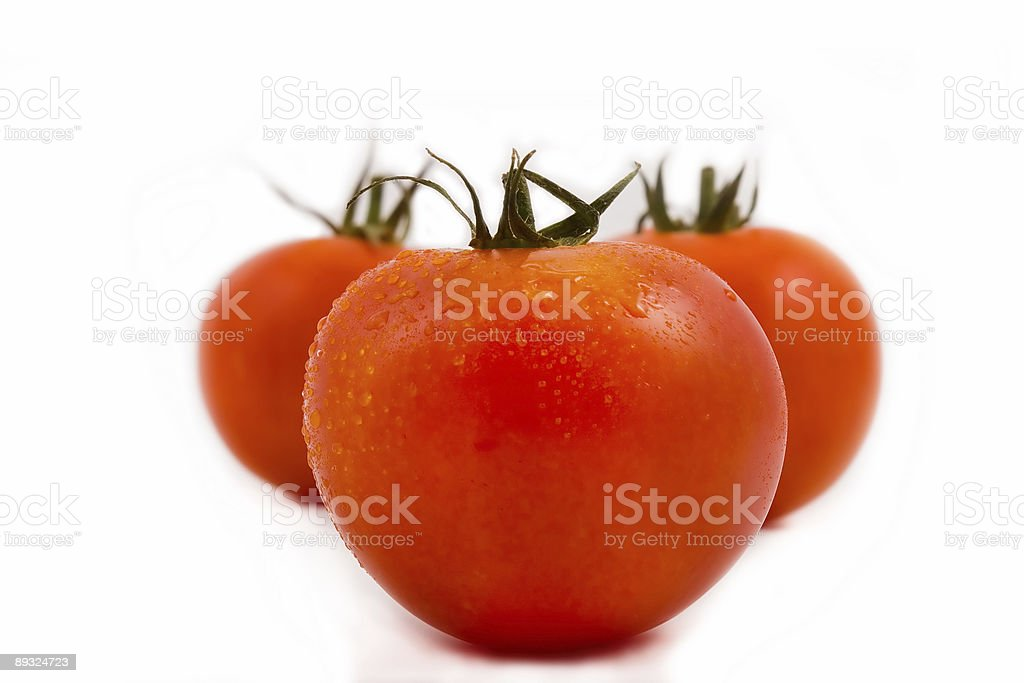 Tomato in drops of water royalty-free stock photo