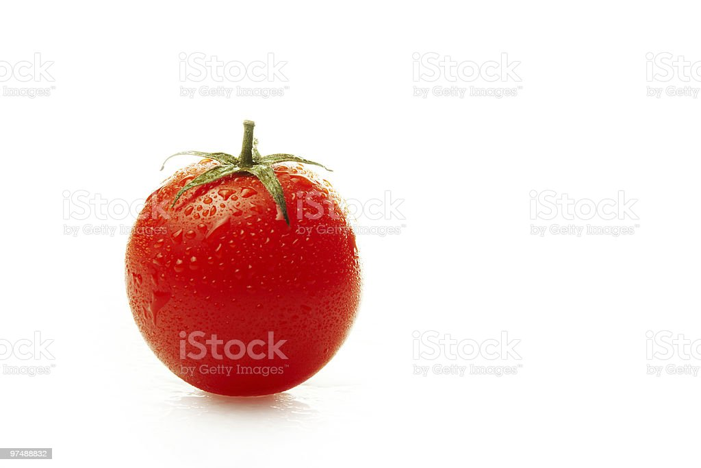 Tomato in waterdrops royalty-free stock photo